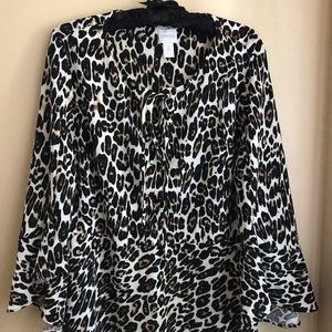Chico's Leopard Print Top with Flare Sleeves large